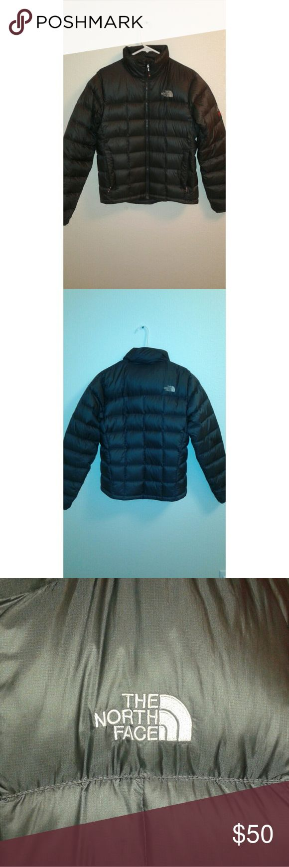 North Face puffer coat North Face, men's S , 1 pocket on inside of coat , THERE IS NO HOOD ATTACHED , dark gray with red zipper North Face Jackets & Coats Puffers