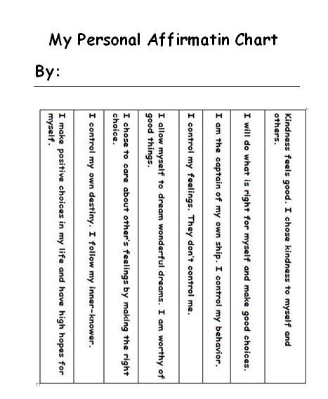 Anger Management Affirmation Chart for Kids \ Help Kids with Anger Issues Manage Anger \ Only at www. Creative Counseling 101.com
