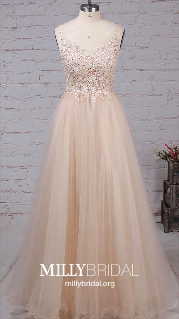 Long Prom Dresses Modest, 2019 Champagne Prom Dresses Elegant, V Neck Prom Dresses Backless, Tulle Prom Dresses A Line