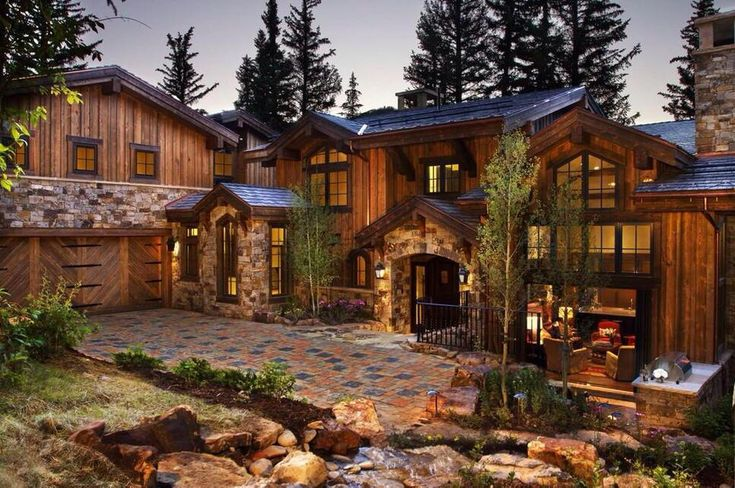 Wood and stone mansion beautiful homes and vacation spots pinterest mansions woods and stones Homes with lots of beautiful natural wood