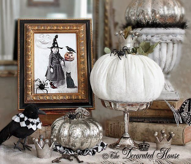 the decorated house halloween decorating black and white