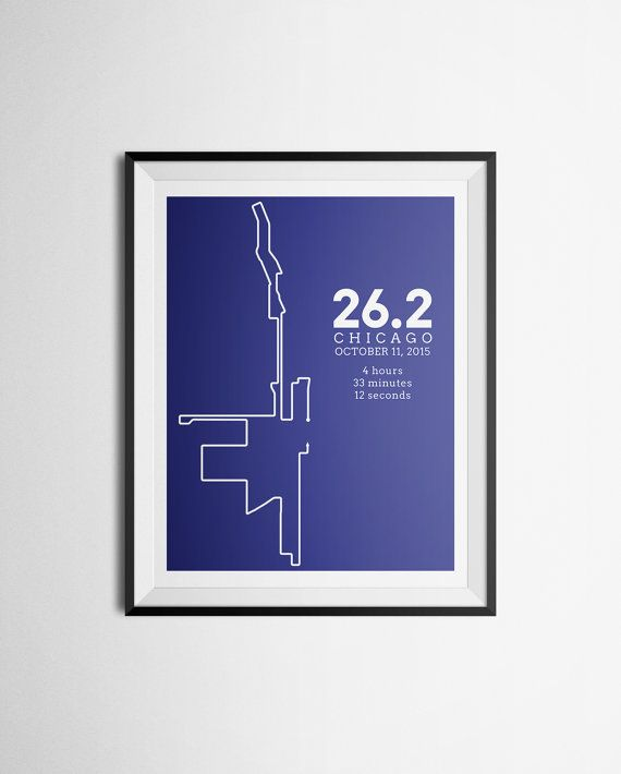 2015 Print of Chicago Marathon Route Abstract Map Gift