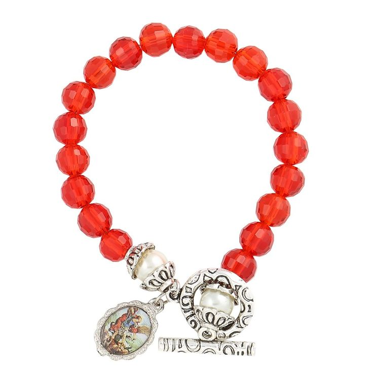 Saint St. Michael Medal Catholic Red Glass Crystal and Simulated Pearl Beaded Bracelet. St. Michael's Medal Bracelet. 7.5mm Red Glass Crystal and Glass Simulated Pearl Beads. 0.71'' St. Michael Silver Color Oval Medal. Toggle Clasp. Made in Brazil.