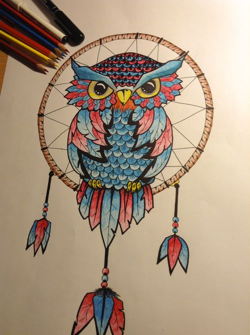Owl dreamcatcher drawing - photo#20