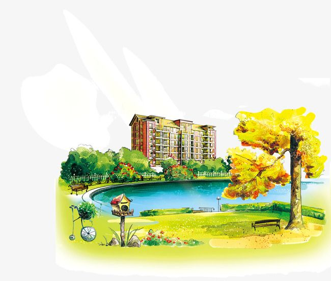 Drawing City Park Hd Free Buckle Material Watercolor City Landscape Pencil Drawings Drawings