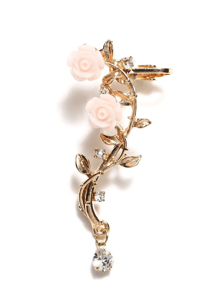 Elaborately detailed pastel ear cuff to amp up your chic game.