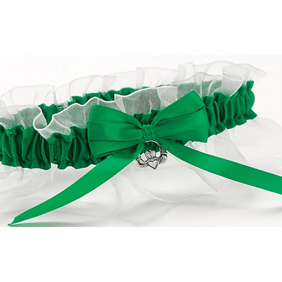 Celtic Garter For The Irish Lass Green Satin With Bow Silver Claddagh Charm And White Chiffon Ruffle