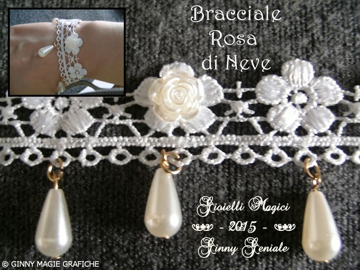 "Bracciale ""Rose di Neve"" by Ginny Geniale. Bracelet part of the parure ""Snow Roses"" by Ginny Geniale.  Info:  https://sites.google.com/site/collectorseditionart/cataloghi-bijoux-e-gioielli/parure---full-set"