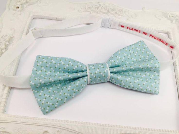Noeud Papillon Motifs pois confettis - Turquoise menthe pastel - Homme : Cravates par fleurs-de-provence