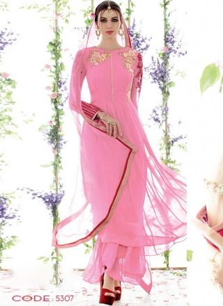 Awasome Pink Pure Georgette With Work Designer Salwar Suit