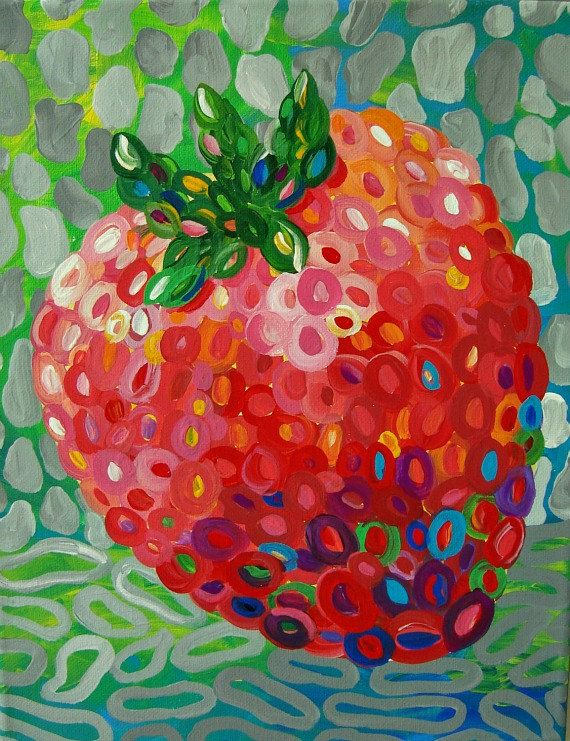 Colorful Strawberry Art PRINT from original by TracyHallArt, $18.00