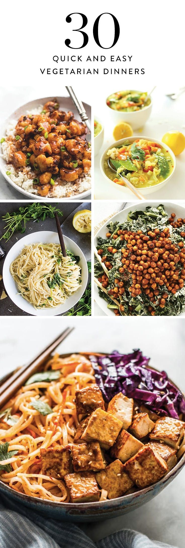 30 Lazy Vegetarian Dinners You Can Make in 30 Minutes or Less via @PureWow