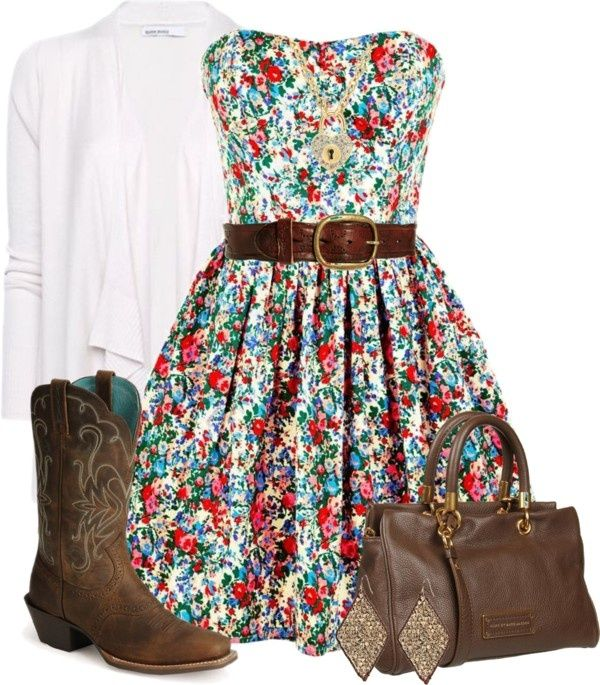 I love this country outfit :) flowery dress, cowgirl boots, belt and white cardigan |  CLICK THIS PIN if you want to learn how you can EARN MONEY while surfing on Pinterest