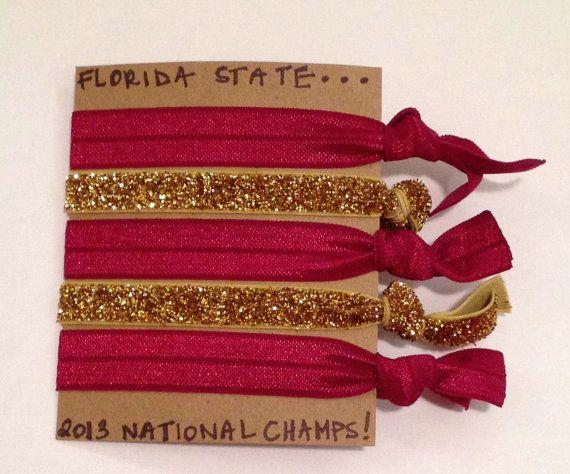 Florida State Seminoles BCS NATIONAL CHAMPS  Creaseless Hair Ties -- Special Edition!  Creaseless Hair Ties!!!