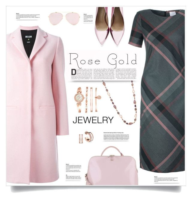 """Rose Gold Jewelry"" by kiki-bi ❤ liked on Polyvore featuring MSGM, Carvela Kurt Geiger, Anne Klein, Radley, jewelry and rosegold"