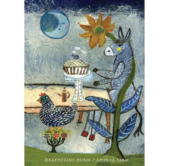 3 Art Cards of Dinner Celebration by katherinedunn on Etsy, $12.00