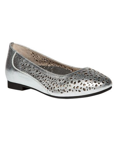 Another great find on #zulily! Silver Cicely Leather Medium Ballet Flat #zulilyfinds