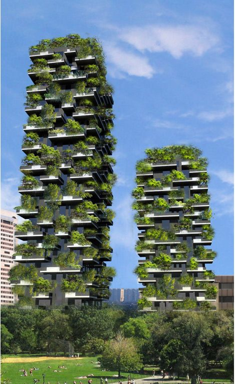 Bosco Verticale in Milan currently under construction.  A forest in the city.