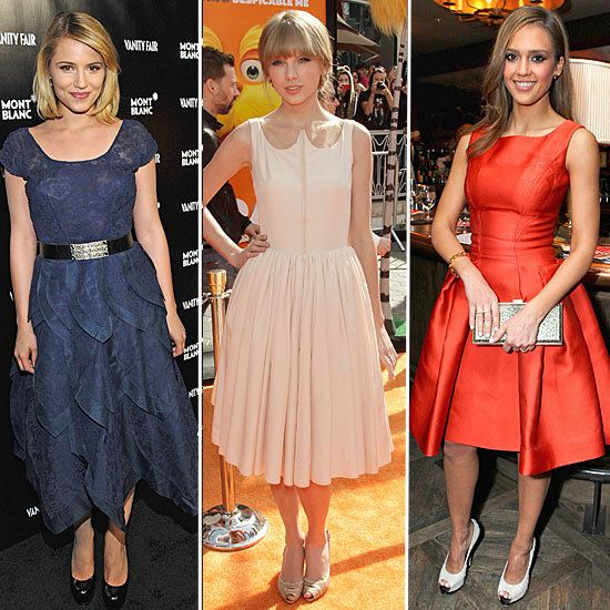 We love to see celebrities looking their best, and the trend for full-skirted dresses is just gorgeous. Photo from FabSugar.com.Fashion, Fullskirt Dresses, Ladylike Dresses, Jessica Dresses, Taylors Swift, Celeb Charms, Don Fullskirt, Full Skirts Dresses, Jessica Alba