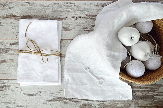 Small linen towel  Face / hand linen towel  pureWHITEspa