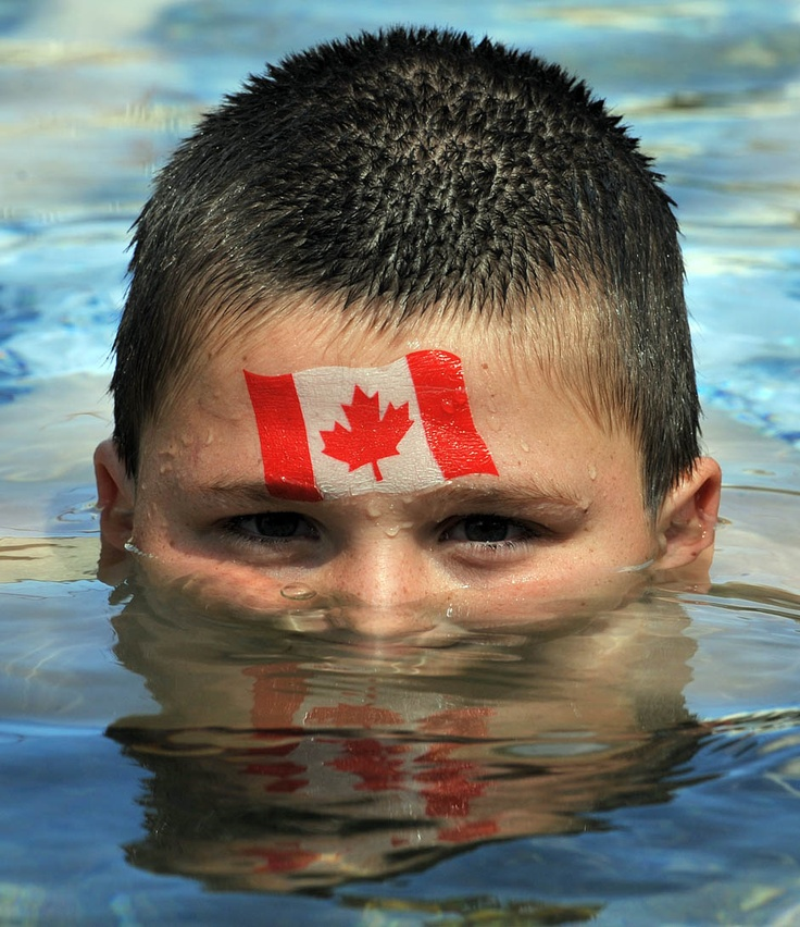 Canadian flag face paint