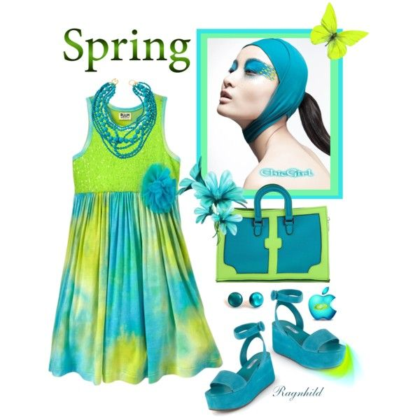 Sweet Spring Dress in Aqua & Lime by ragnh-mjos on Polyvore featuring Prada, Leghilà, Kenneth Jay Lane and DUO