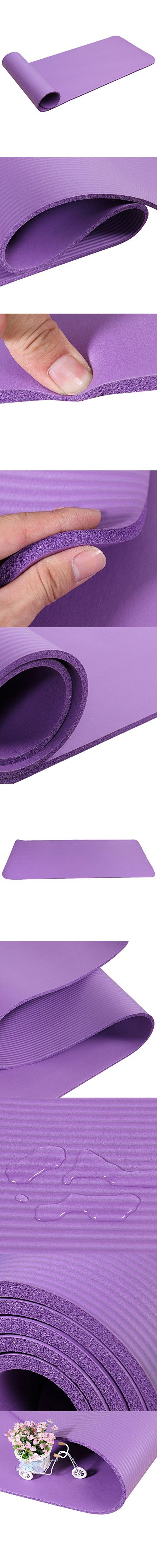 8-15mm Thickened NBR Pure Color Anti-skid Non-slip Yoga Mat Health Lose Weight Fitness Durable Thick Exercise Pad (Purple, 15mm)
