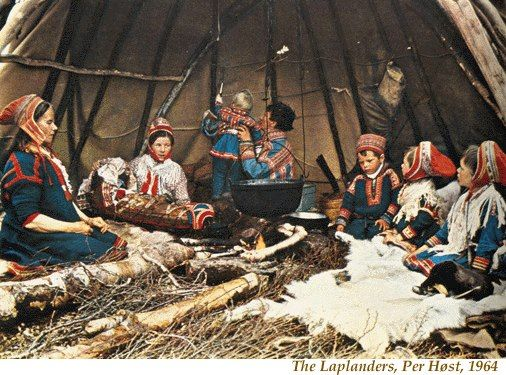 A 20th century Saami family inside of their Lavvu tent.    Lavvus are collapsible, portable homes for the nomadic reindeer herders of Northern Scandinavia.