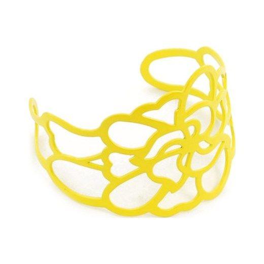 Żółta ażurowa bransoleta zielonykot-pl zolty sztuczna