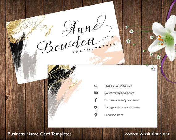 Business Cards Printable Name Card Template by aiwsolutions #card #businesscard watercolour , nude colour, glitter name card