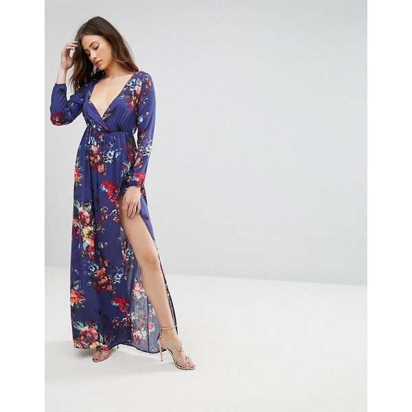 Club L Long Sleeve Floral Printed Maxi Dress ($45) ❤ liked on Polyvore featuring dresses, purple, long-sleeve floral dresses, floral print maxi dress, purple long sleeve dress, maxi dresses and floral print long sleeve dress