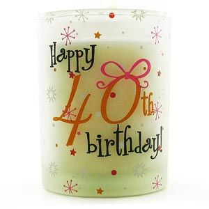 Happy 40th Birthday Vanilla Candle Votive This beautifully scented Happy 40th Birthday Vanilla Candle Votive makes a lovely gift for someone celebrating their 40th Birthday.The votive is made from frosted glass in a cylinder shape. Featured  http://www.comparestoreprices.co.uk/birthday-gifts/happy-40th-birthday-vanilla-candle-votive.asp