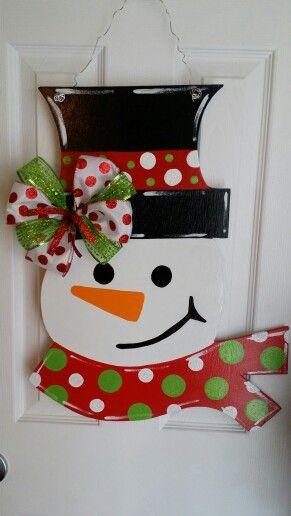 Handpainted Wooden snowman door hanger