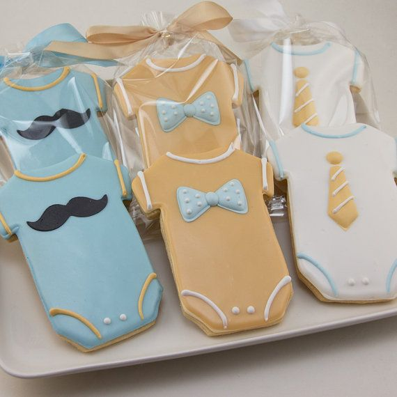 Mustache Cookies, Little Man Party Bowties and Ties - 24 Decorated Sugar Cookie Favors