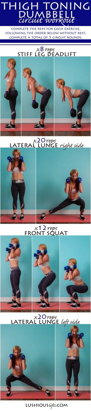 Thigh Toning Dumbbell Circuit Workout    lushiousLIFTS.com