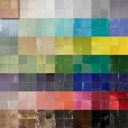 Zellige, Marokkaanse geglazuurde tegels in vele parelmoer kleuren verkrijgbaar.