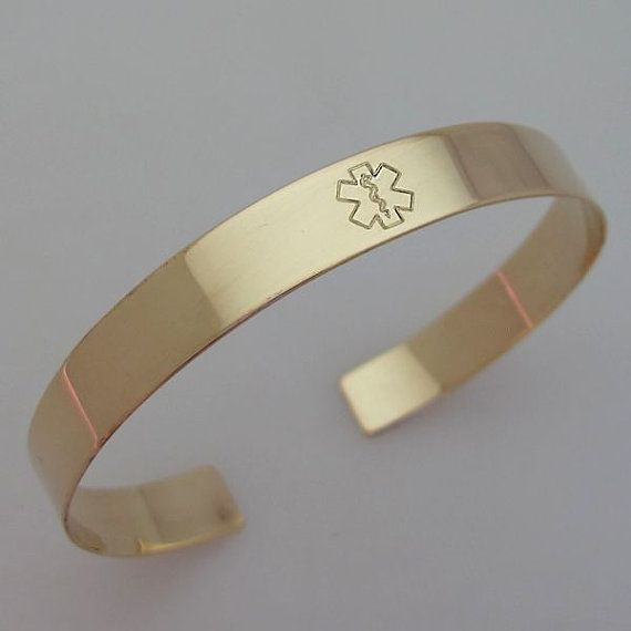 Medical Alert Bracelet - Personalized Gold Filled Cuff - Inspirational Gift. Medical ID Bracelet. Allergy Alert Bracelet Diabetic,Epileptic