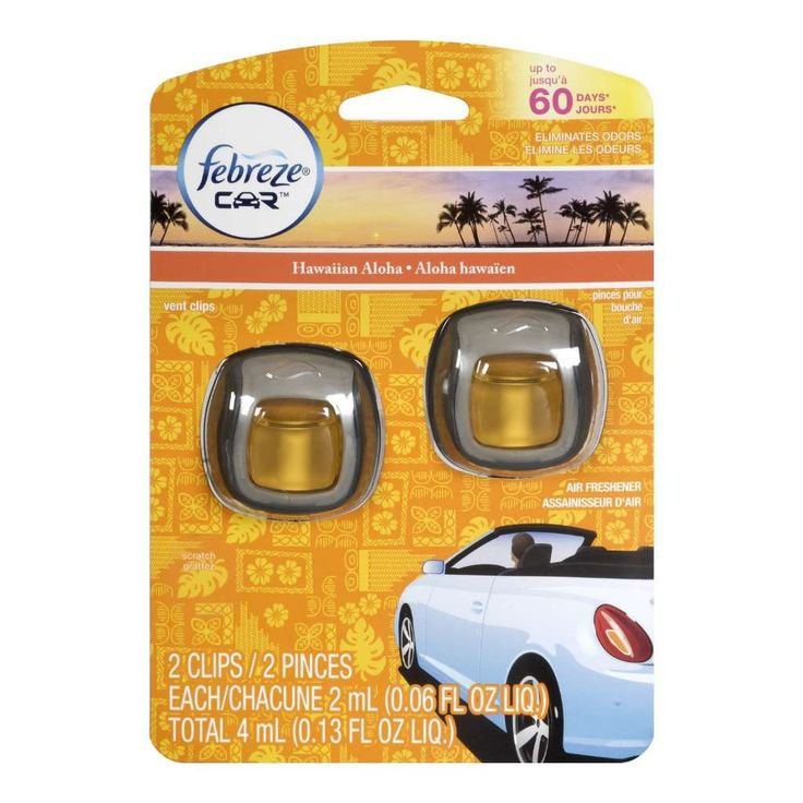 Febreze CAR Vent Clips sends odors packing and adds a welcome note of freshness to your vehicle. These new car air fresheners eliminate odors and replace them with a refreshing scent. In just a short