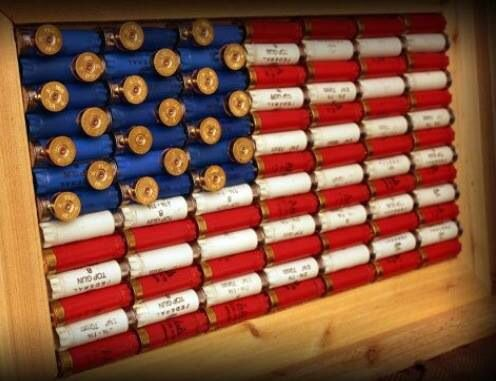 Shotgun Shell American Flag Decor - Cedar Framed
