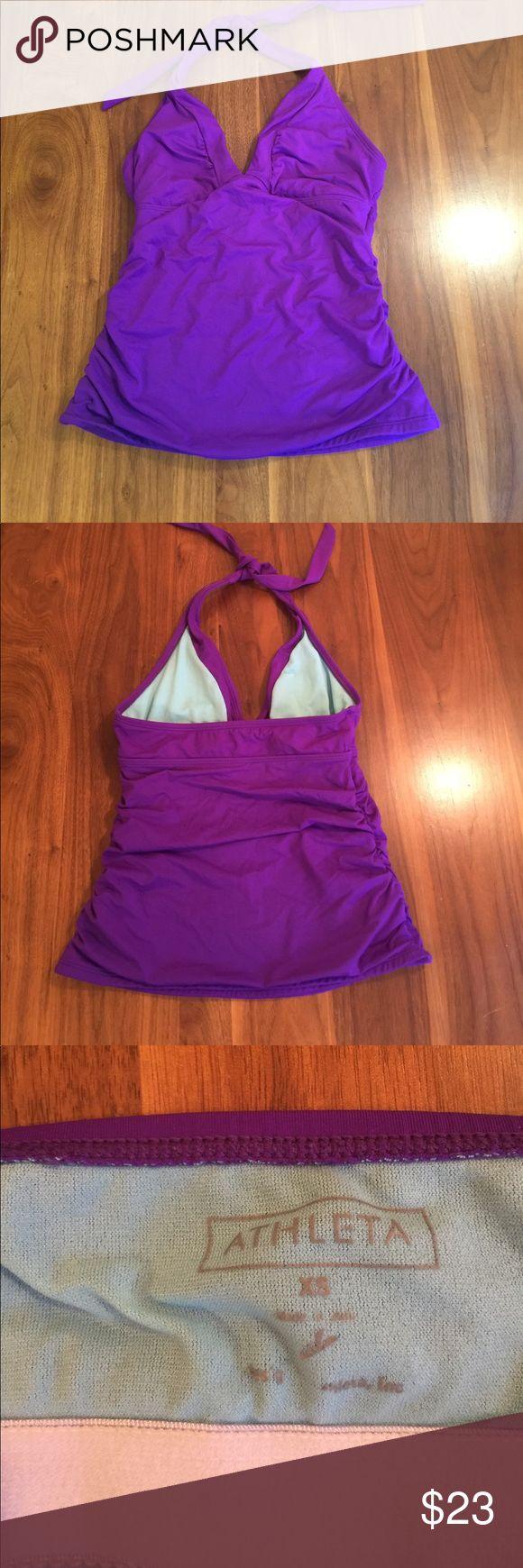 Athleta Halter Swim Tankini Purple tankini top with tie at neck. Athleta Swim