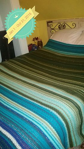 I made mine for a full bed with drape. I chained 240 + 1. And I am planning on 366 rows of single crochet to account for leap year. I am alternating every other month with SC one month, and SCFLO/SCBLO across the row the next month. I am using sequin thread for family birthdays and anniversaries. Highs for spring and summer equinox, lows for fall and winter equinox. I used www.wunderground.com for my temperatures.