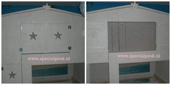 #boomhutbed Sjors #wit #sterretjes #treehousebed #white #specialpink