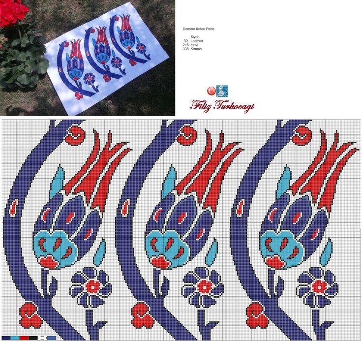 Hepinizin çok yakından tanıdığı bir desen olan, '' S Lale '' isimli deseni çalışmazsam olmazdı :) Deseni istediğiniz kadar uzatabilirsiniz... Designed and stitched by Filiz Türkocağı... ( İznik chini, S tulip )