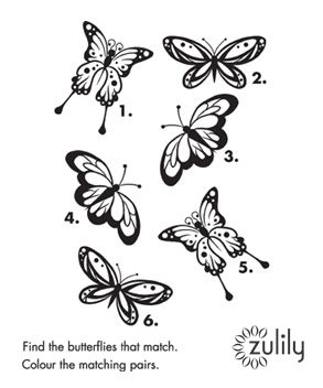 FREE Printable – Find the butterflies that match & color the matching pairs