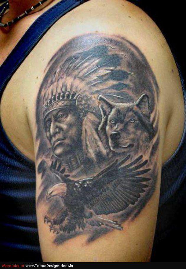 Indian, Wolf and Eagle Arm Tattoo | Tattoos I Like | Pinterest | Best Indian wolf, Arm tattoo ...