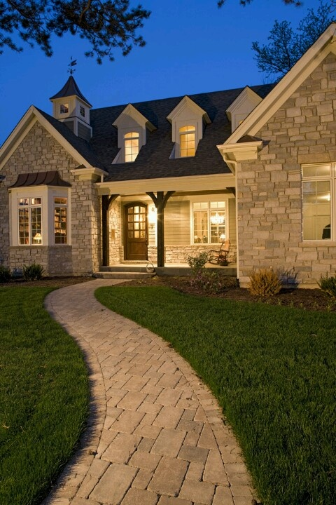 Beauty:)Oakley, Ideas, Stones Cottages, Dreams House, Front Doors, Cottages Design, House Exterior, Front Walkways, Front Porches
