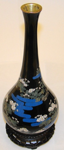 Japanese Cloisonné Vase 10 inches Tall Meiji Taisho Period Carved Stand | eBay, and in our store, $600