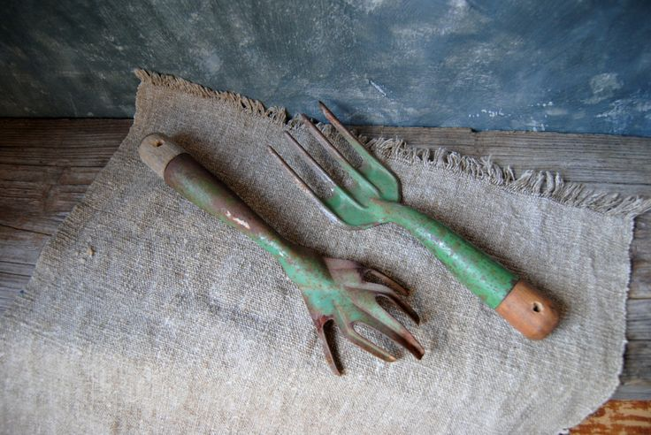 Vintage Garden Tools / Pair of Rustic Garden Hand Tools / Garden Cultivator and Fork / Weathered Gardening Tools by Untried on Etsy