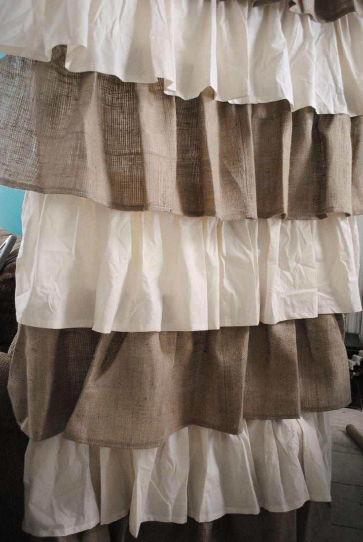 Ruffle curtains - Burlap And Cotton Ruffled Curtain