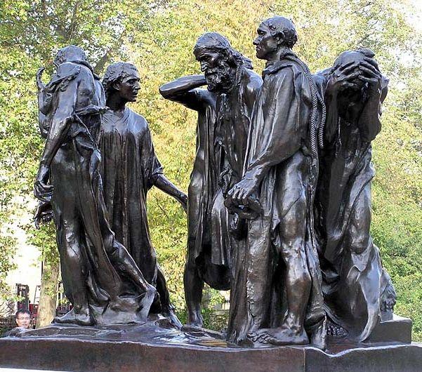 Los burgueses de Calais. Auguste Rodin, 1884-1895. Conjunto escultórico del Impresionismo. Esta corriente artística fue principalmente pictórica, ya que los artistas se centran en plasmar la luz y llenar de color sus obras. Rodín consigue dar un efecto lumínico a sus esculturas con su forma de esculpir y rompe con las normas establecidas en el S XIX como vemos en el conjunto escultórico, es realista, dramático, desordenado y lo que más impactó, sin pedestal.